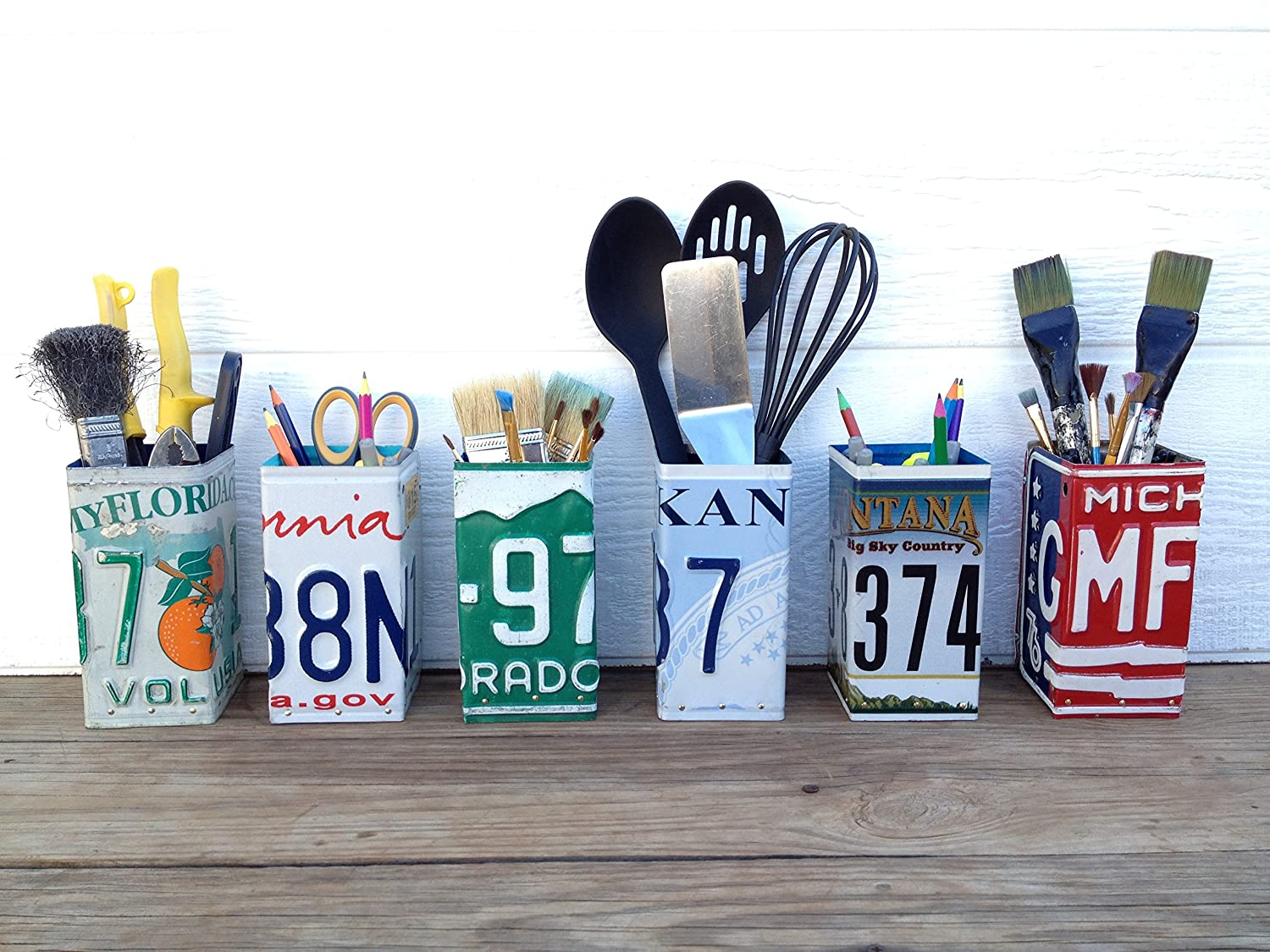State License Plate Pencil Holder - Home Office Desk Organizer - Upcycled License Plate - Unique Organization Desk Storage - State License Plate Office Storage