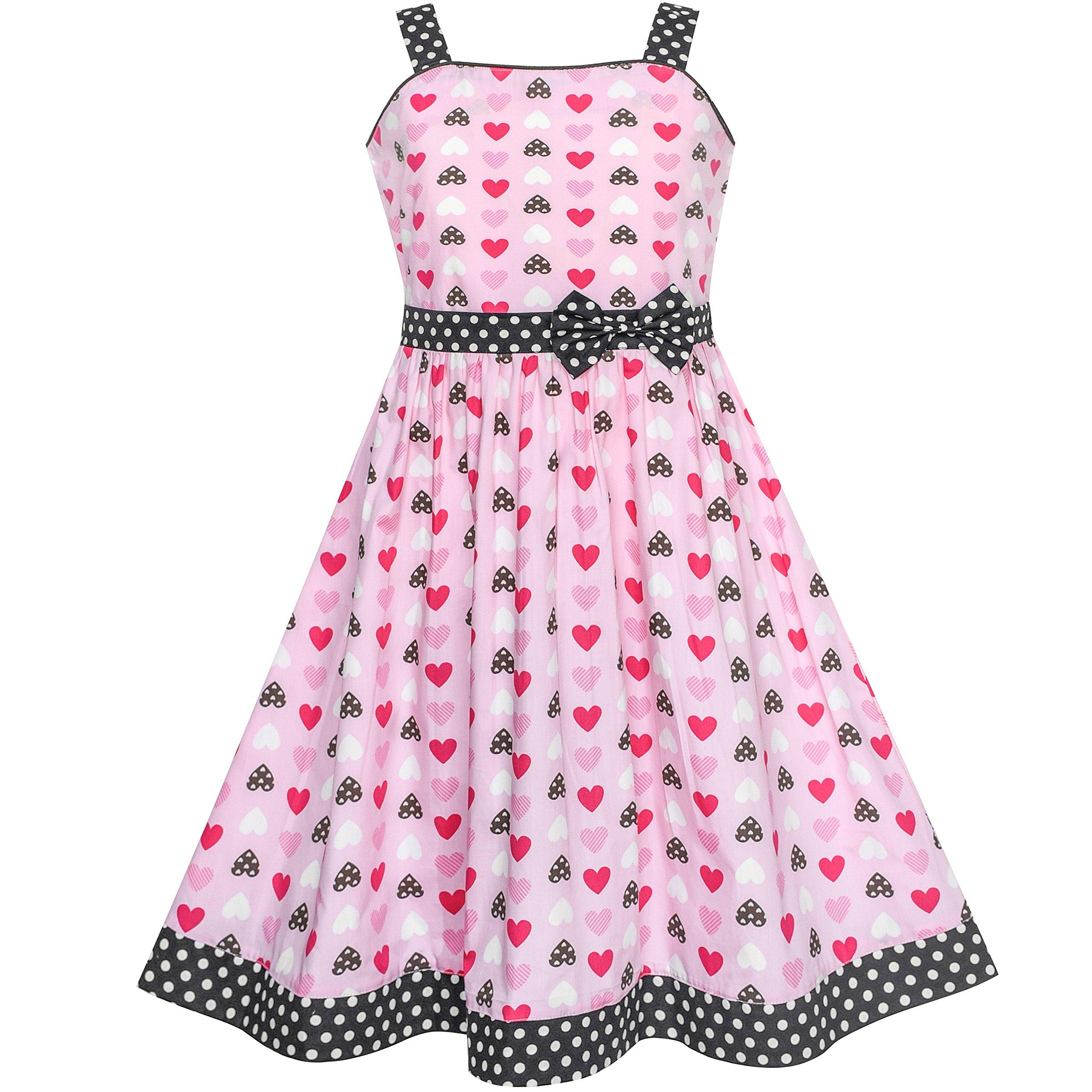 b07dc0939121a Sunny Fashion Robe Fille Cœur Imprimer Rose 4-12 ans