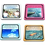 Demotivational Non Motivational Neoprene Coaster Set of 4 Funny Potential Believe Individuality Obstacles Ambition Discovery Hope More