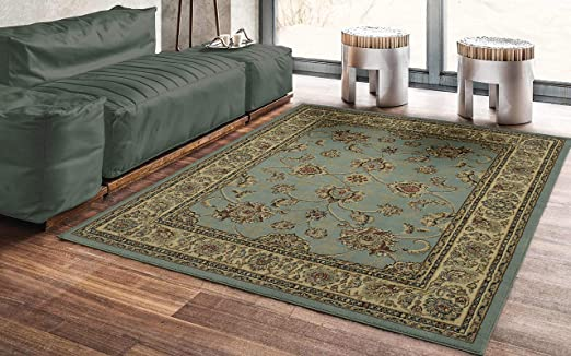 """Actual Size 5/' 3/"""" x 7/' 2/"""" Black 5x7 Flowers Leaves Scrolls Floral Area Rug"""