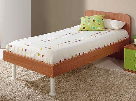 Cama con Cabezal para Dormitorio Juvenil con somier Incluido de 30x30 Medida 90x190 Cama con cabecero
