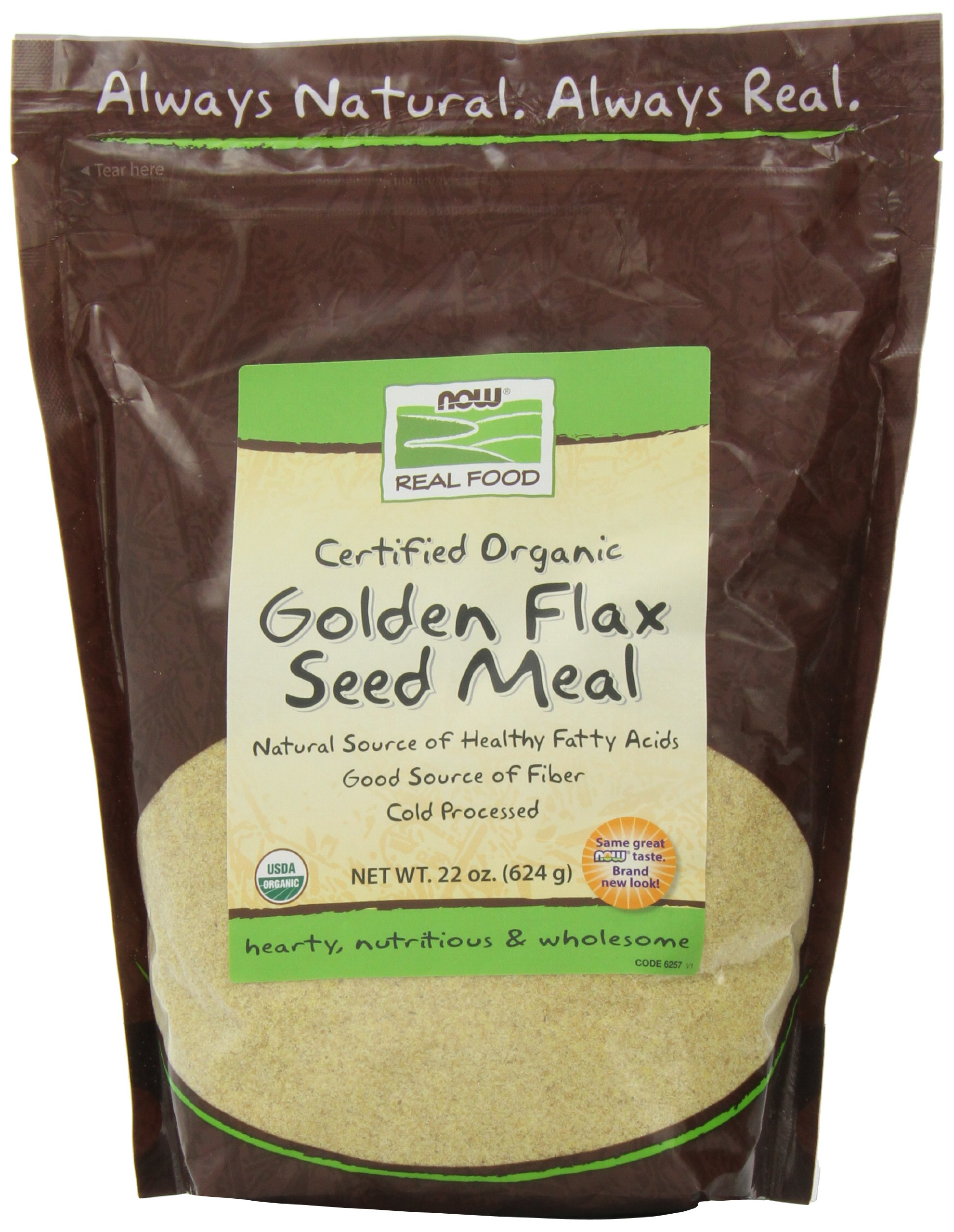 NOW Foods Certified Organic Golden Flax Seed Meal,22-Ounce (Pack of 3) by NOW Foods (Image #1)