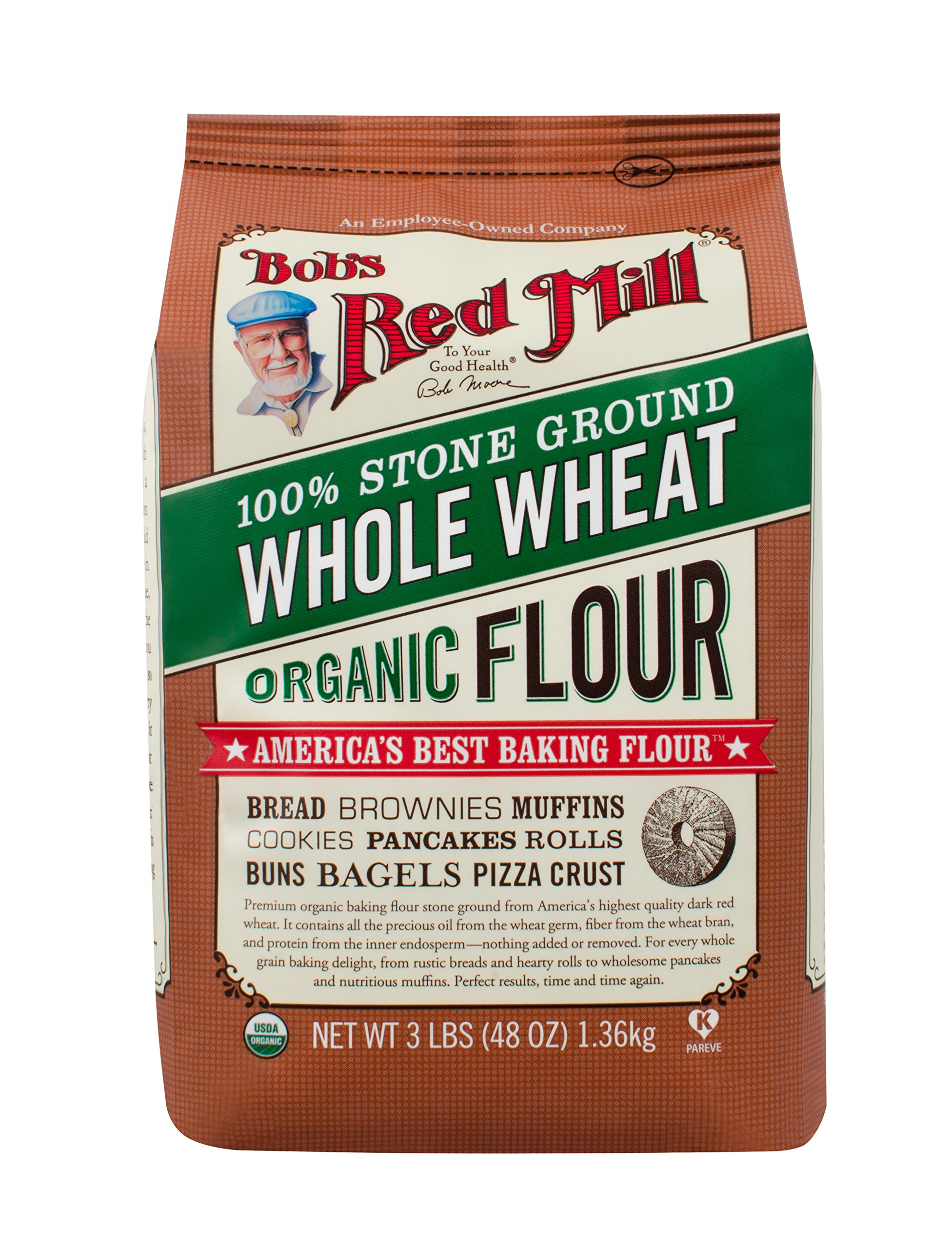 Bob's Red Mill Organic Whole Wheat Flour, 48-Ounce (Pack of 4)