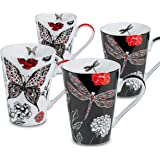 Konitz 2 Dragonfly and 2 Butterfly Mugs, Black/Red, Set of 4