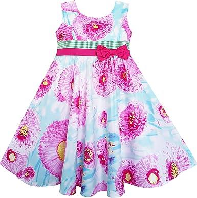 Vestido para niña Corbata de moño Agua Flor Patrón Morado Sol 7 ...