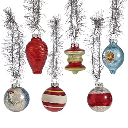 raz imports box of 6 traditional shapes vintage glass christmas ornaments