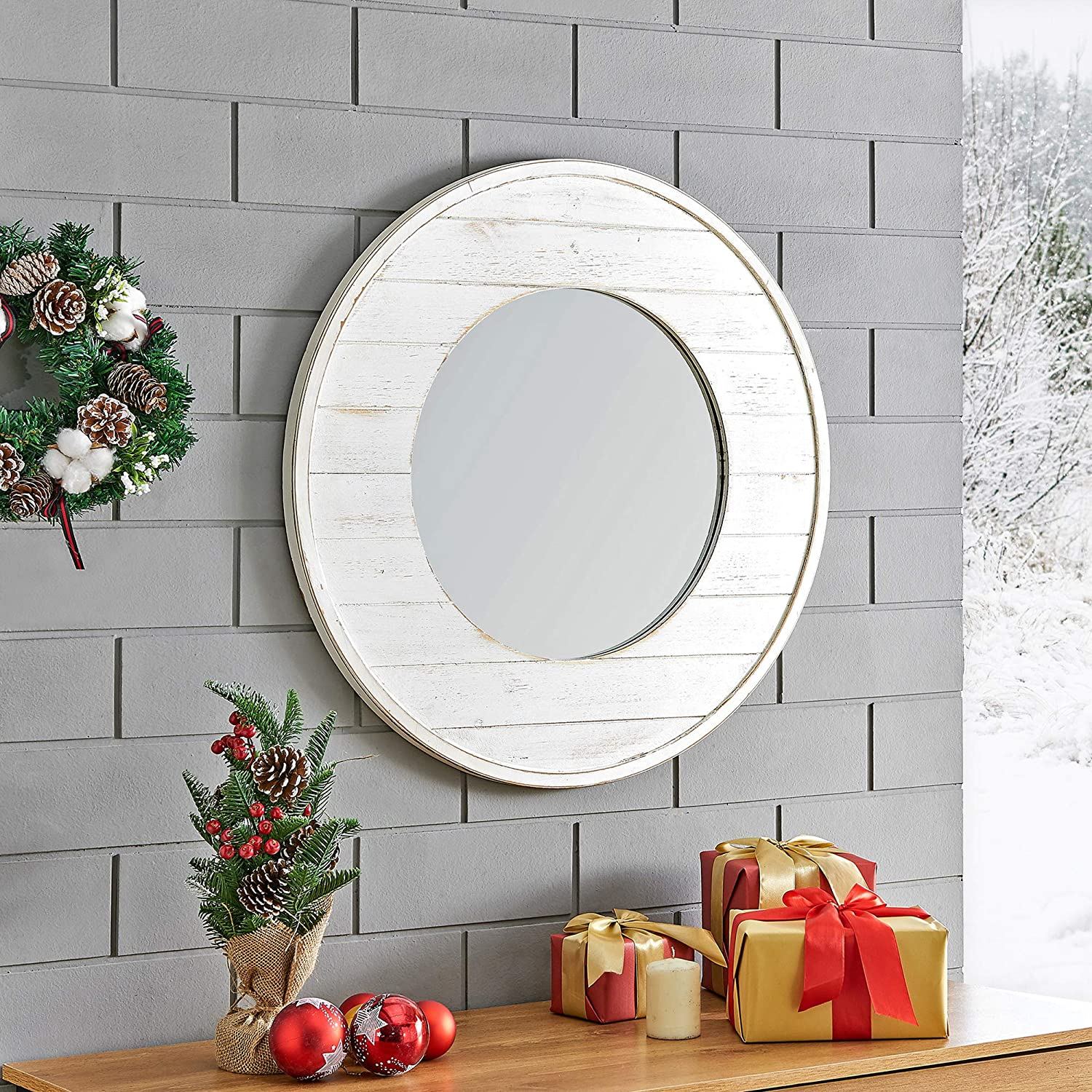 "FirsTime & Co. Ellison Shiplap Accent Wall Mirror, 27"", Aged White"