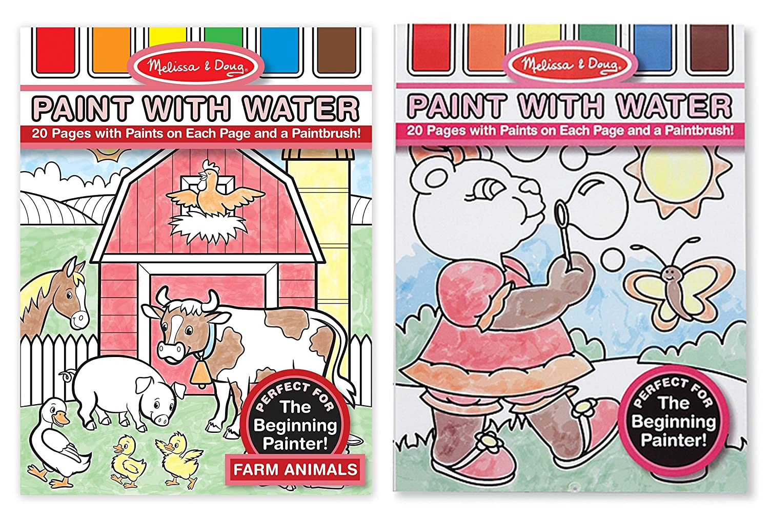 20 Perforated Pages Spillproof Palettes 4165 Farm Animals Melissa /& Doug Paint With Water