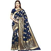 KEDARFAB Women's Banarasi Silk Saree With Blouse Piece