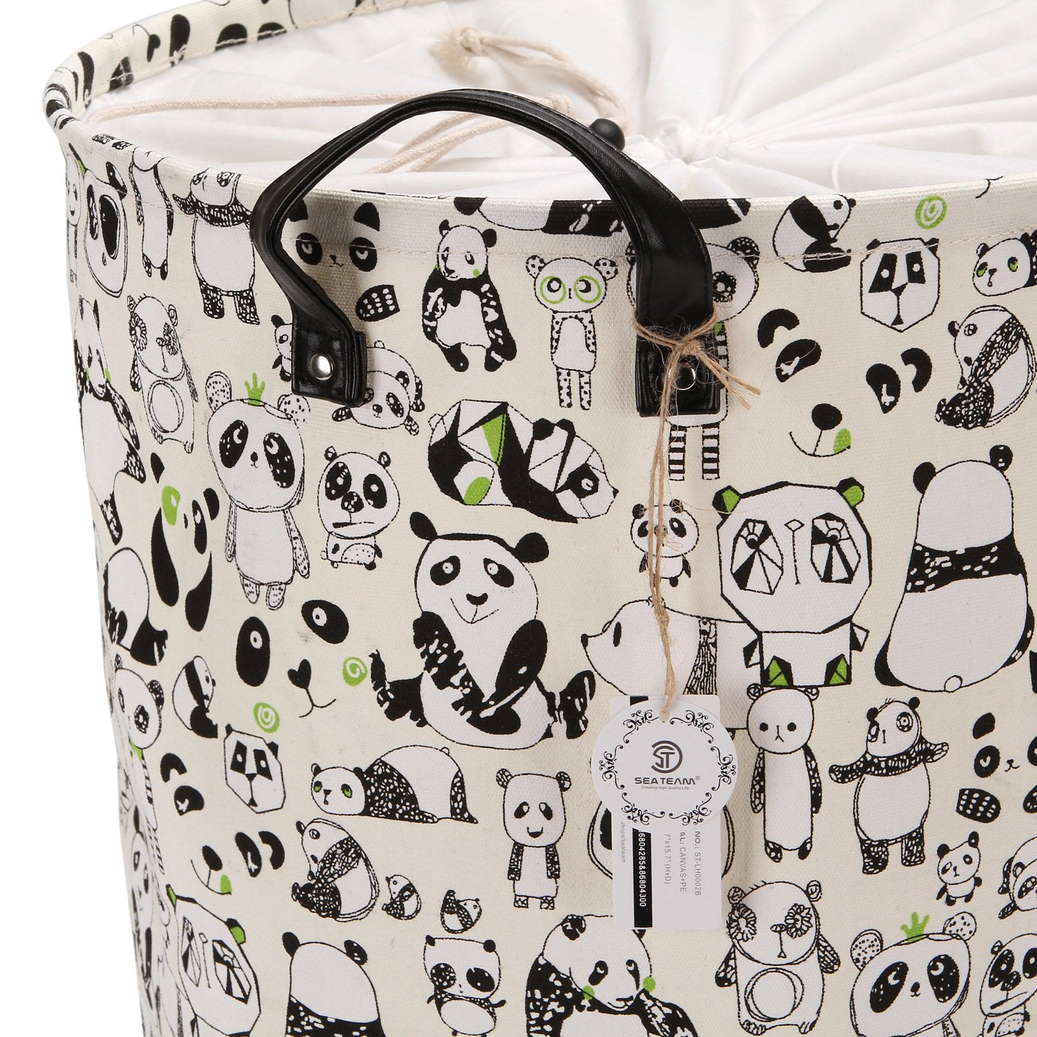 Sea Team 19.7'' Large Size Stylish Panda Design Canvas & Linen Fabric Laundry Hamper Storage Basket with Premium PU Leather Handles for Kid's Room, Drawstring Cover with Waterproof Coating by Sea Team (Image #6)