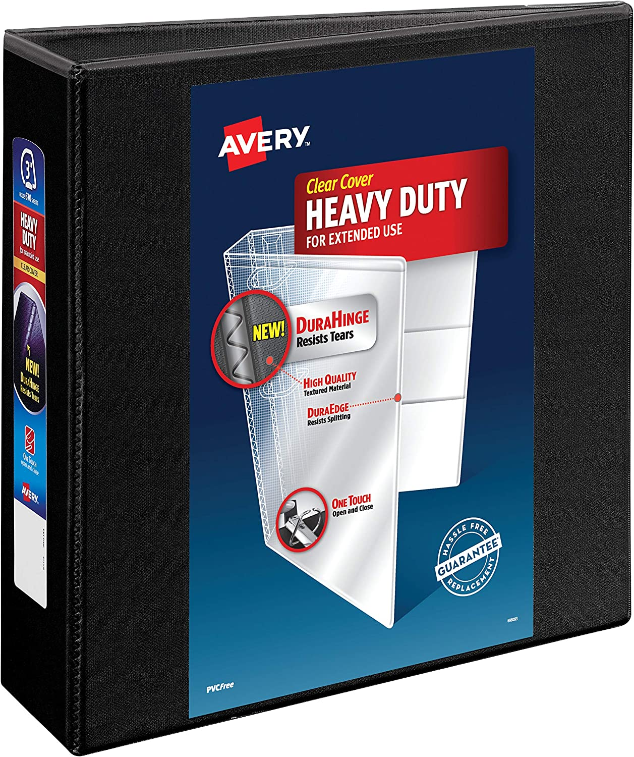 """AVERY Heavy-Duty View Binder, 3 One-Touch Rings, 670-Sheet Capacity, DuraHinge Black (79693), 3"""" : Office Products"""