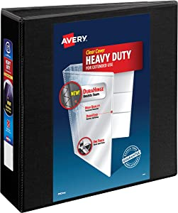 """Avery Heavy-Duty View 3 Ring Binder, 3"""" One Touch EZD Rings, 1 Black Binder, Organize and Store Trading Card Pages and Photos, Create a Family Tree Book (79693)"""