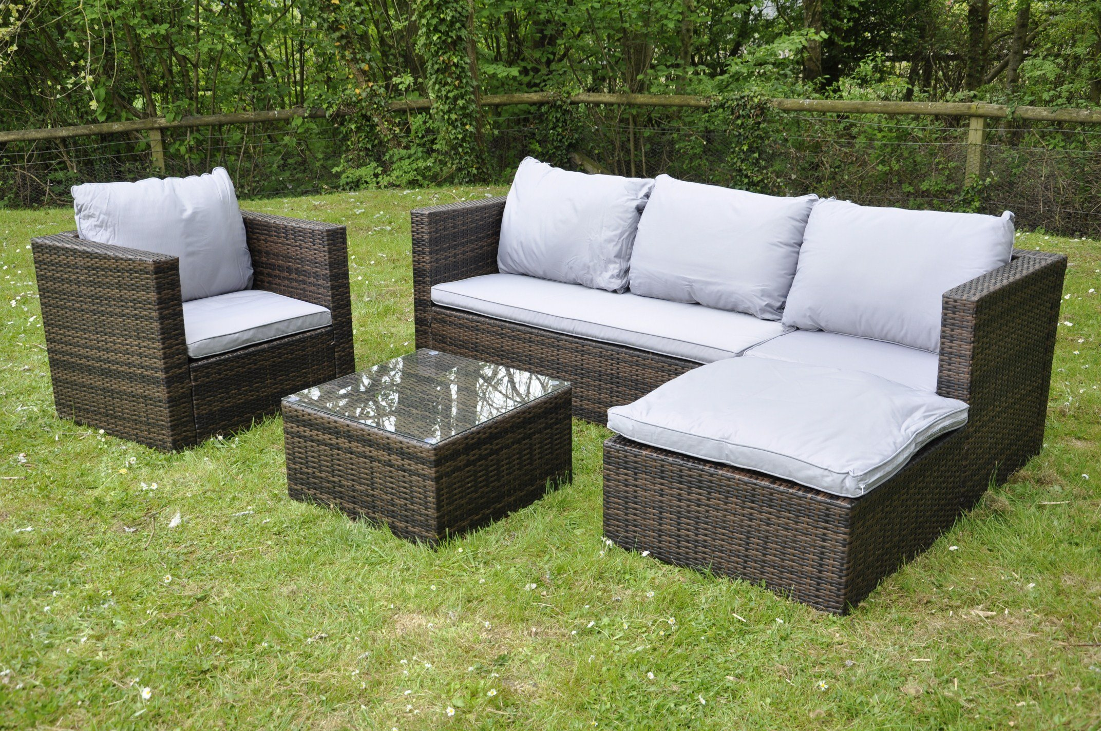Bigzzia Rattan Modular Corner Sofa Set Bahamas 7PC Garden Corner Sofa  includes Cushions