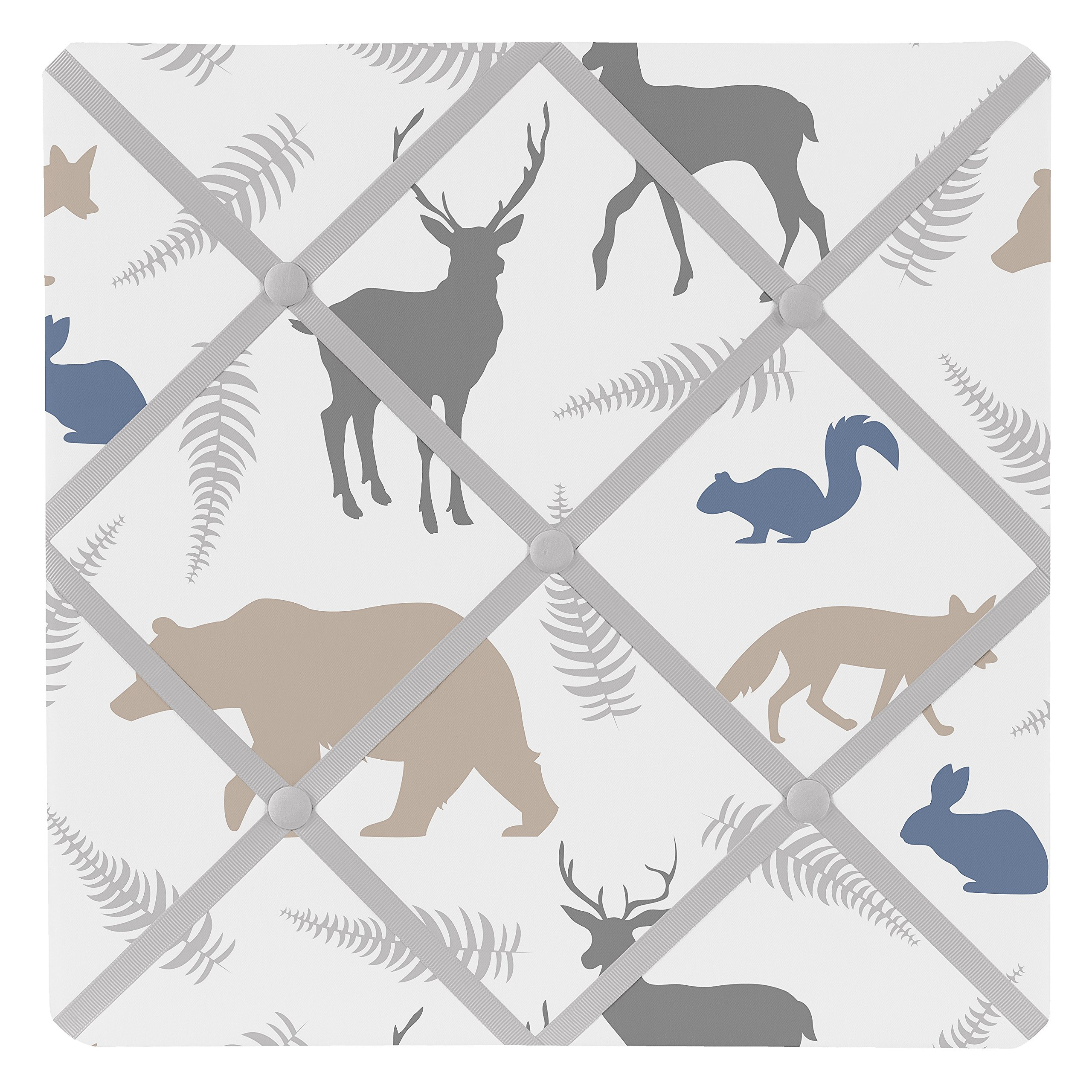 Sweet Jojo Designs Bear Deer Fox Fabric Memory/Memo Photo Bulletin Board for Blue Grey and White Woodland Animals Collection