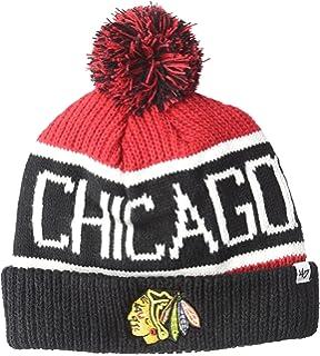 Amazon.com   NHL Chicago Blackhawks Men s Face-Off Cuffed Pom Knit ... bc75dbf34ef