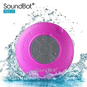 SoundBot SB510 HD Water Proof Bluetooth 3.0 Speaker, Mini Water Resistant Wireless Shower Speaker, Handsfree Portable Speakerphone with Built-in Mic