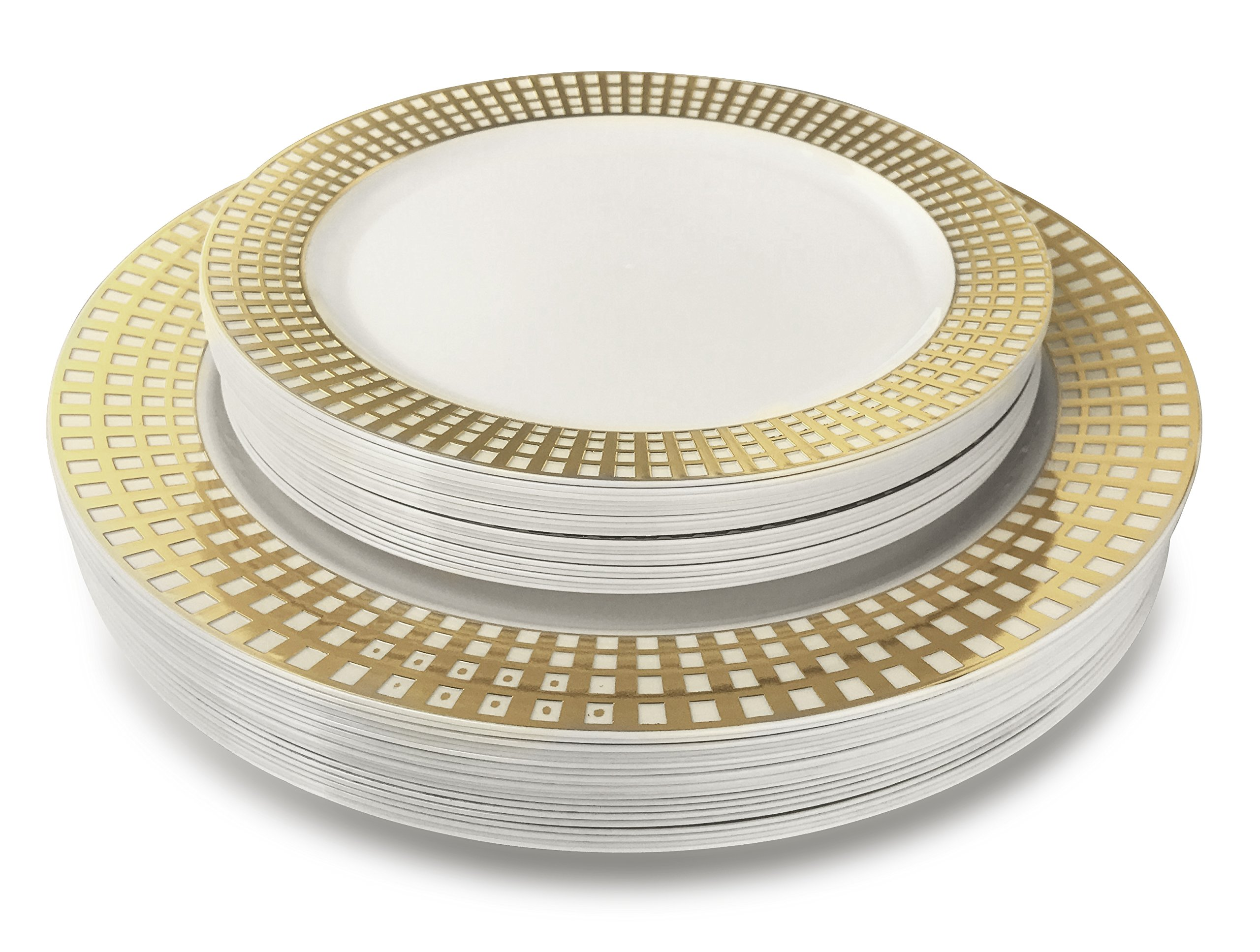 '' OCCASIONS '' 240 Piece Pack Premium Disposable Plastic Plates Set - 60 x 10.25'' Dinner + 60 x 7.5'' Salad / dessert (240, Princess White /Gold) by OCCASIONS FINEST PLASTIC TABLEWARE