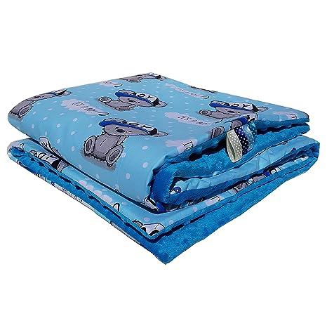 Minky Baby manta para gatear techo Super Suave y Agradable. Mano azul Blau Boy Talla
