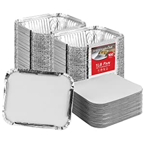 Stock Your Home 1 Lb Aluminum Pans with Lids (100 Pack) - Food Containers with Cardboard Lids - Disposable & Recyclable Takeout Trays with Lids - to Go Containers for Restaurants, Catering, Delis