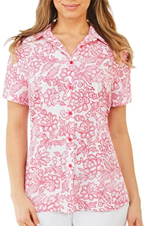 4643040778b4cb Alia Petite Floral Print Button Front Top at Amazon Women's Clothing ...