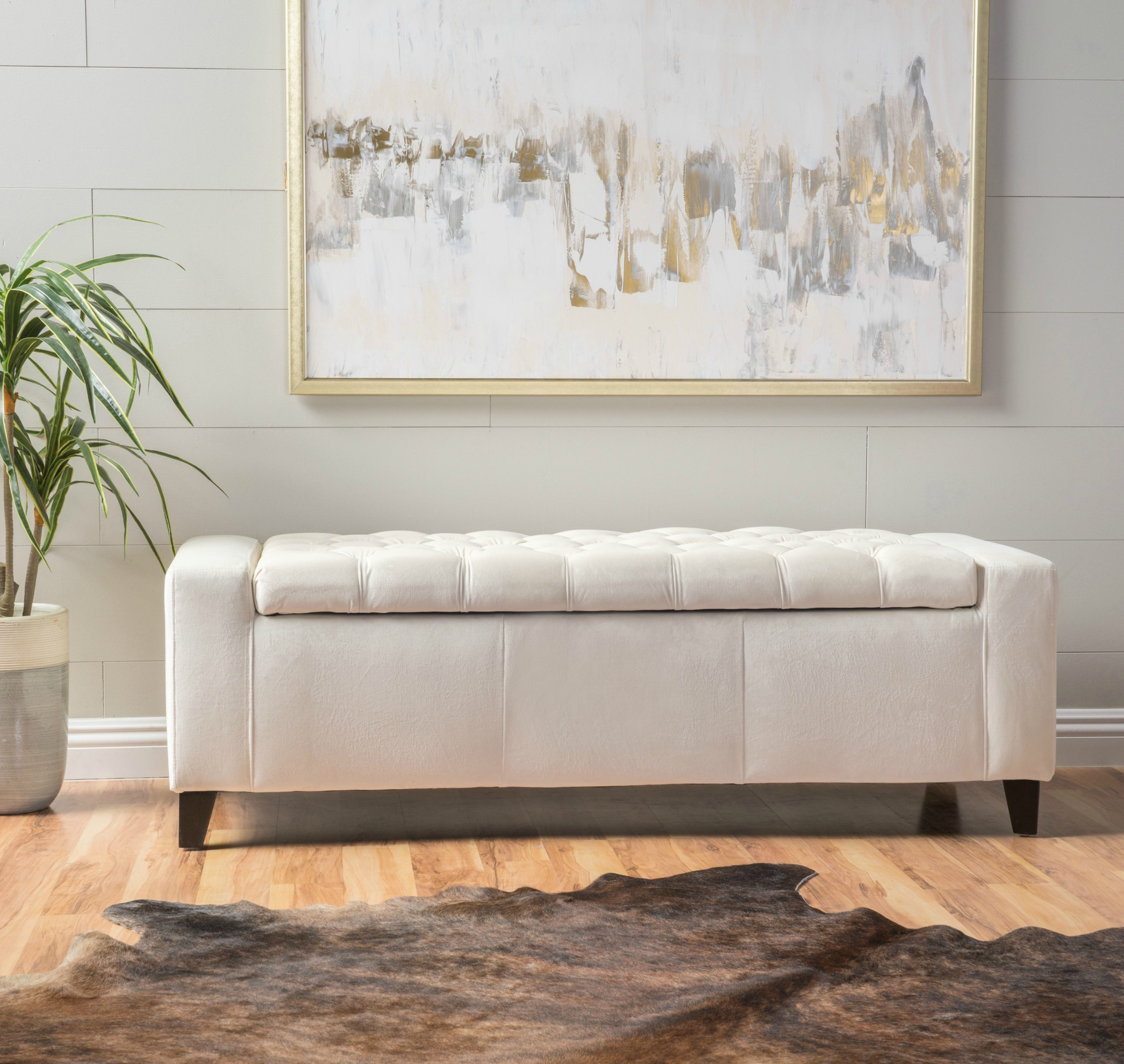 Eco friendly Storage Ottoman Bench Entryway Footstool Button Tufted Ivory
