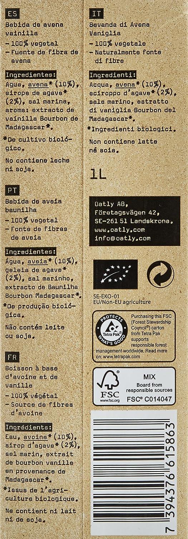 Oatly - Bebida Avena sabor Vainilla Oatly Bio, 1 L: Amazon.es: Alimentación y bebidas