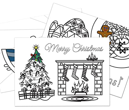 amazon com colorable christmas cards 3 different designs set of