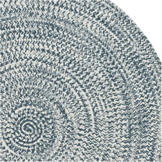 product image for Colonial Mills Boatside Tweed Indoor/Outdoor Reversible Braided Rug Atlantic Blue 10' x 10' Round 10' Round Outdoor, Indoor White, Blue Round