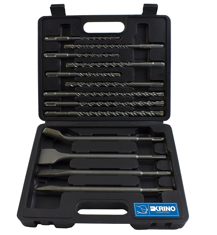 Krino 03165310 Set 13 Pezzi Punte e SCALPELLI SDS-Plus per Cemento e calcestruzzo Acciaio