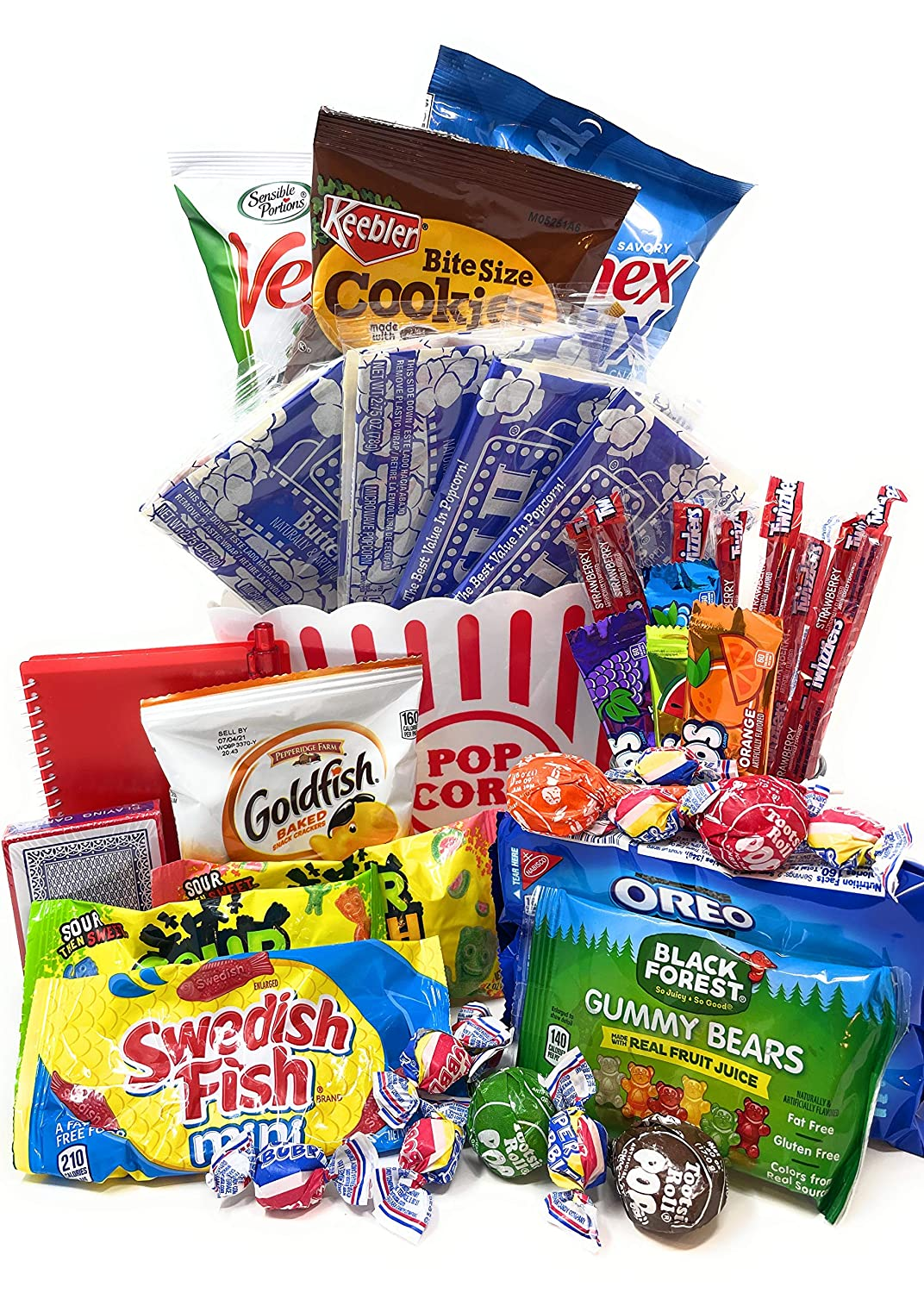 Movie and Game Night Gift Basket Care Package - Popcorn, Candy, Cookies Gift for Valentine's Day, Easter Basket, College Students - 40+ Piece Bundle