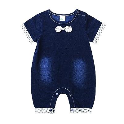 HMD Baby Infant Boys Dark Blue Bowtie Onesie Jumpsuit Romper Suit Overalls