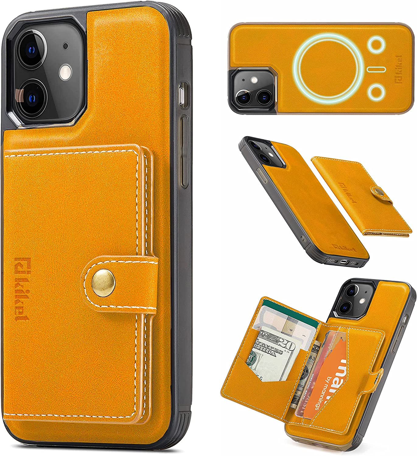 KIKET Magnetic Leather Case [1x Magnetic Yellow Leather Wallet Card Holder] Designed for iPhone 12 Pro Max Case [Mil-Grade Drop Tested] [Kickstand Feature] Compatible with All MagSafe Accessories