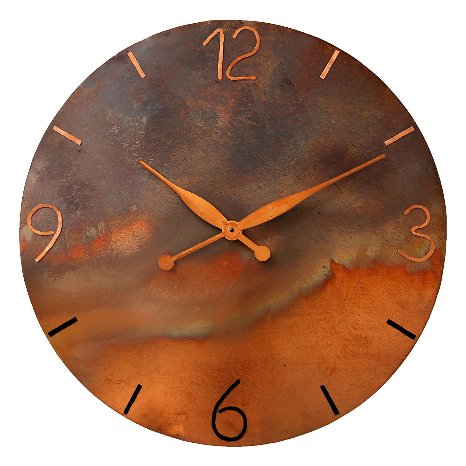 Oversized Round Copper Rustic Wall Clock 24-inch - Silent Non Ticking Gift for Home/Office/Kitchen/Bedroom/Living Room