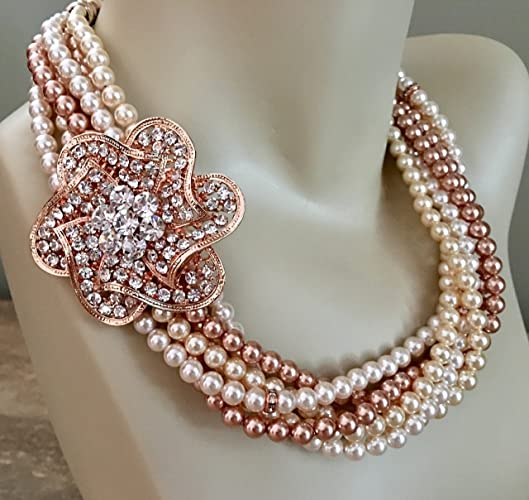 2755b7fcbe Rose Gold Wedding Jewelry Set with Swarovski Pearl Twisted Chunky Necklace  in 6 multi strands with Brooch and matching Pearl Earrings by Alexi  Blackwell ...