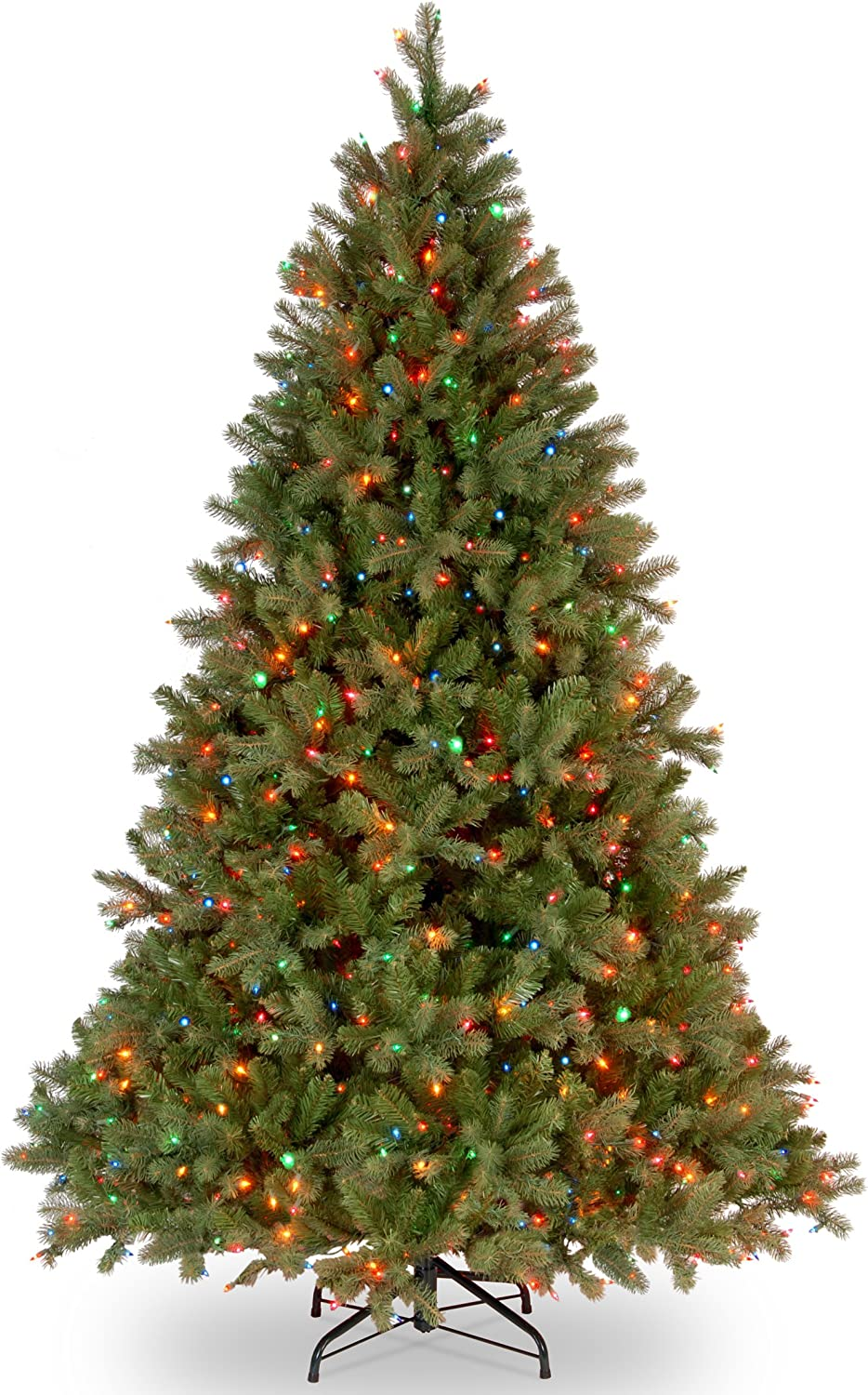 National Tree 6.5 Foot Feel Real Downswept Douglas Fir Tree with 650 Multicolored Lights, Hinged (PEDD1-325-65)