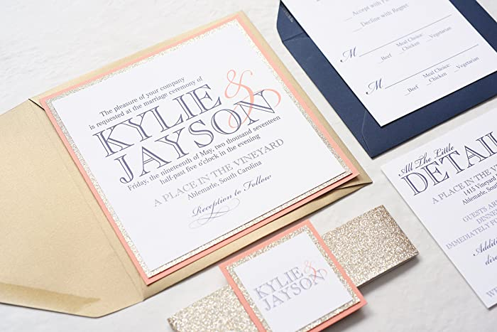 amazon com custom square wedding invitation with glitter band