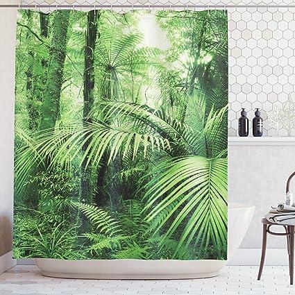 Piante Verdi Tenda Bagno Tenda Della Doccia tropicale Foglie Verdi Cortina De Ducha Piante Tropicali Bagno Doccia 3D Tessuto