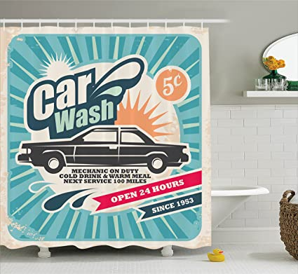 Amazon.com: Ambesonne 1950s Decor Shower Curtain Set, Retro Car Wash ...