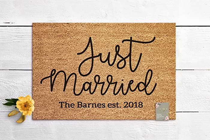 11c564085 Amazon.com  Just Married Welcome Mat Custom Door Mat Marriage Gift New Home  Gift Personalized Wedding Gift Coir Mat Outdoor Doormat Cute Doormat   Handmade