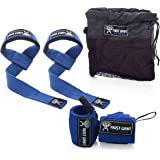 Weightlifting Wrist Wraps & Lifting Straps Combo By Frost Giant Fitness -For CrossFit, Powerlifting, Home Workouts, Bodybuilding, Intense Gym Workouts- Hand and Wrist Support Equipment For Men & Women