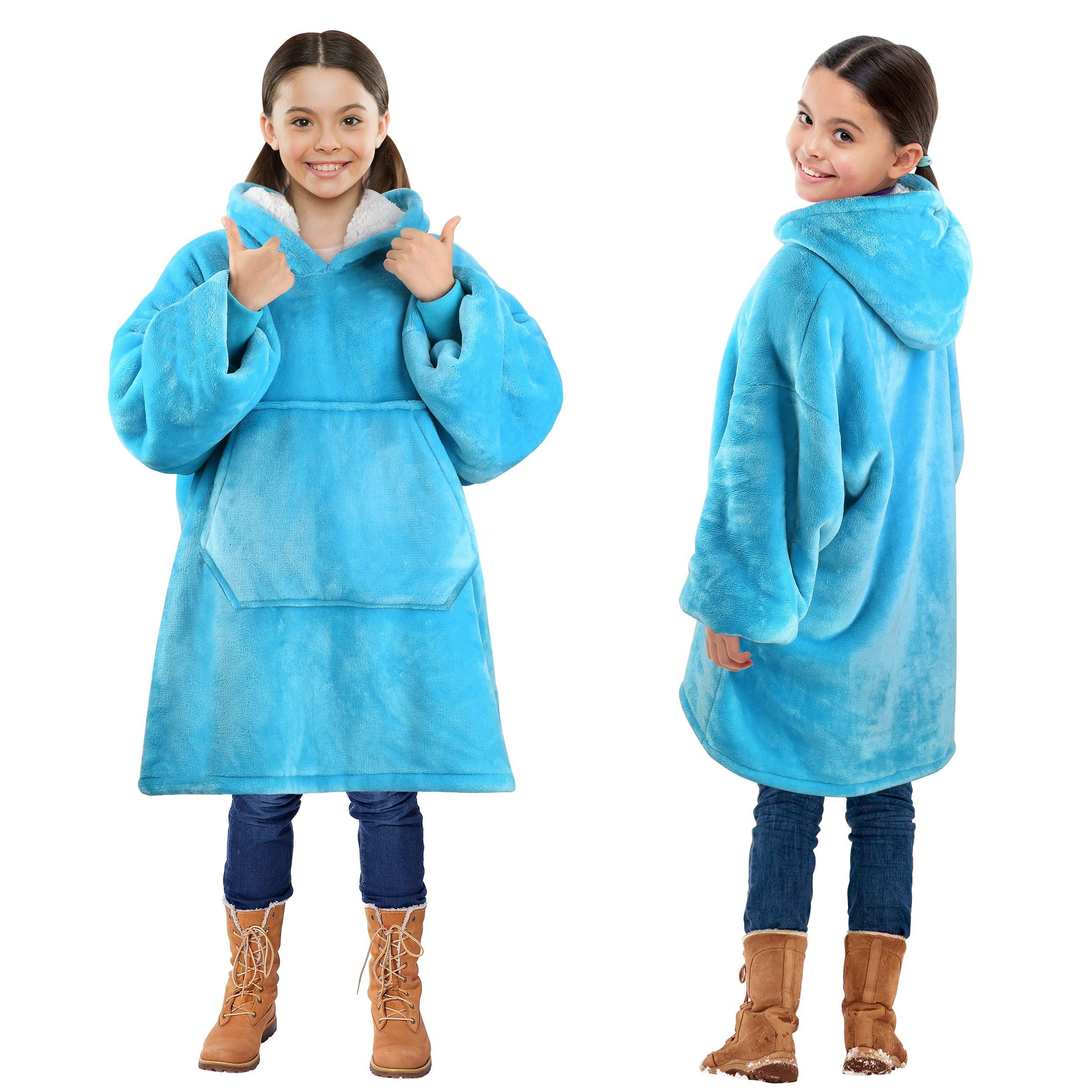 Kids Blanket Sweatshirt, Super Soft Warm Cozy Wearable Sherpa Hoodie for Children, Boys, Girls, Oversize, Reversible, Hood & Large Pocket, One Size, Light Blue by Solaris