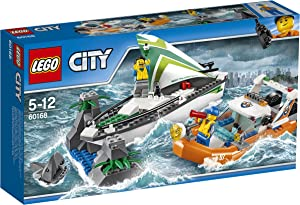 LEGO City 60168 Sailboat Rescue Building Toy With Boats That Really Float. Includes: Coast Guard Rescue Boat, Sailboat, Rock Island, 2 Minifigures, 1 Shark Minifigure. 195 Pieces. Item: 6174681.