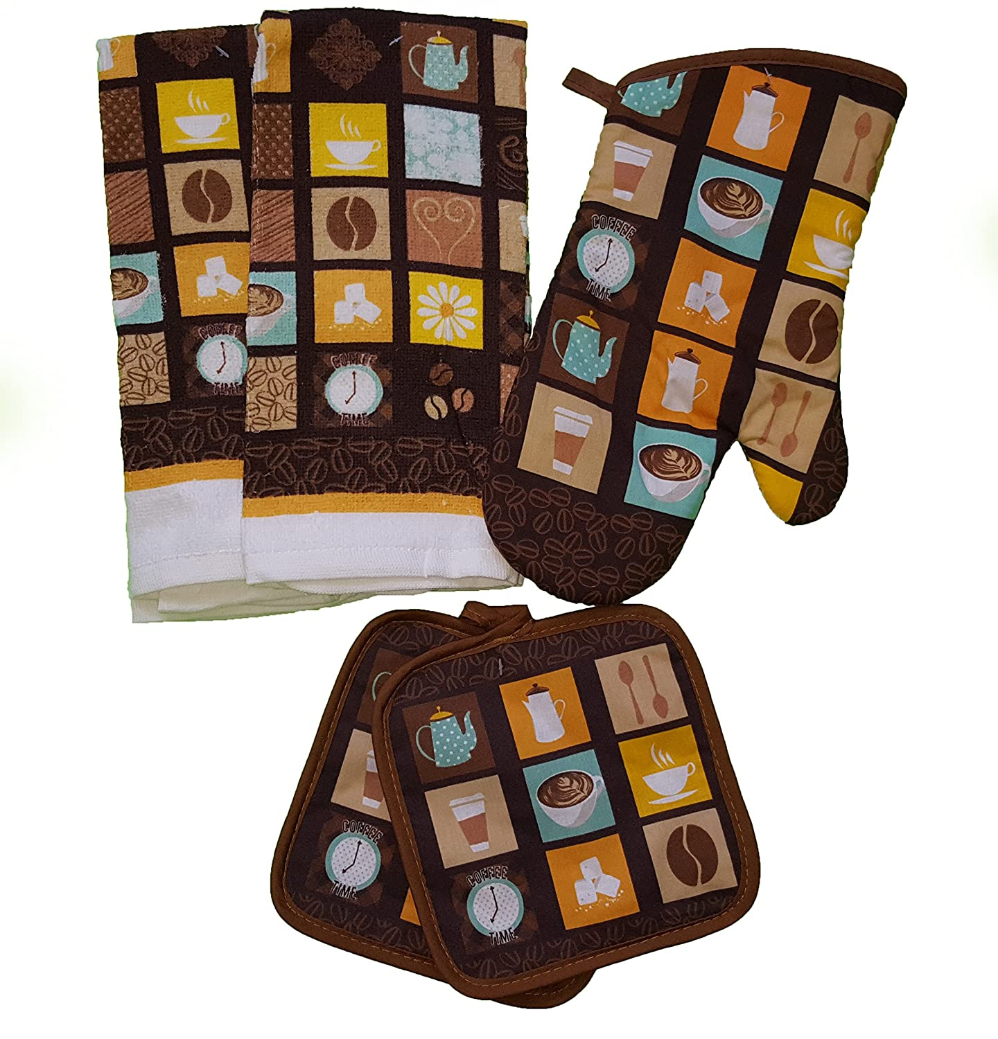 The Spotted Moose Colorful Retro Coffee Latte 5 Piece Kitchen Linen Bundle With 2 Dish Towels, 2 Potholders, and 1 Oven Mitt