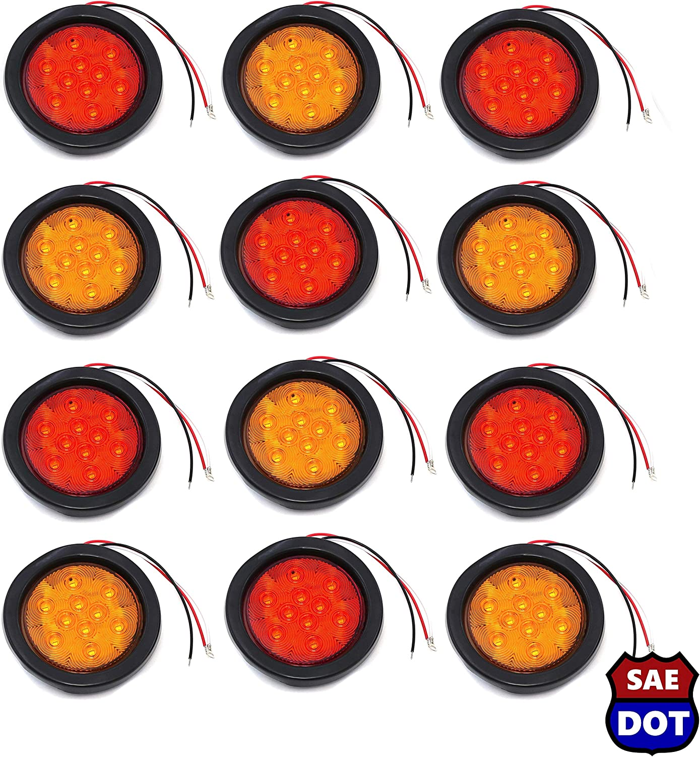 4 Inches Round 8 Red 10 LED Stop Turn Tail Light Brake Flush Truck Trailer 4 Pairs