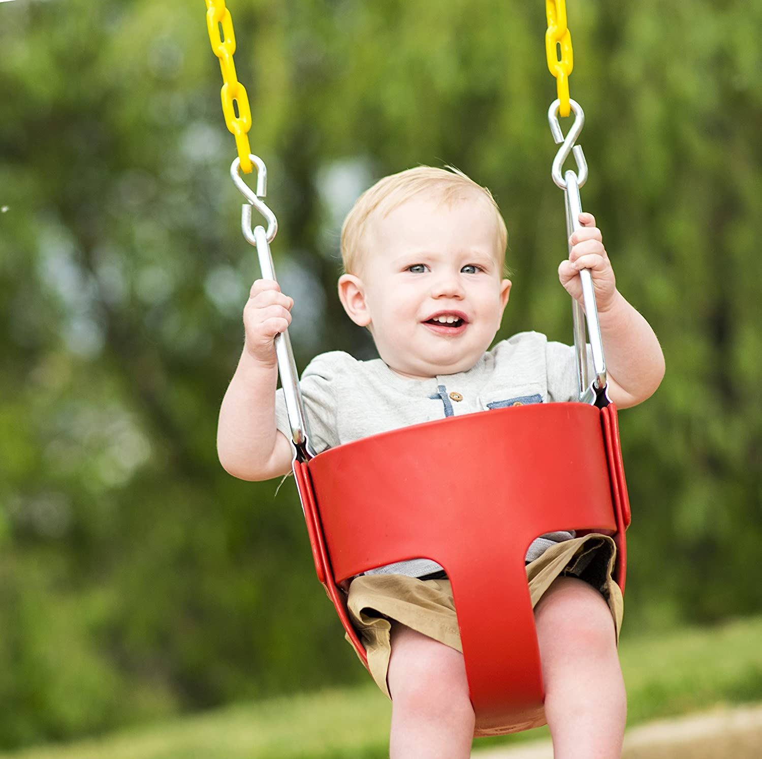 Swing Set Squirrel Products High Back Full Bucket Toddler Swing Seat with Plastic Coated Chains