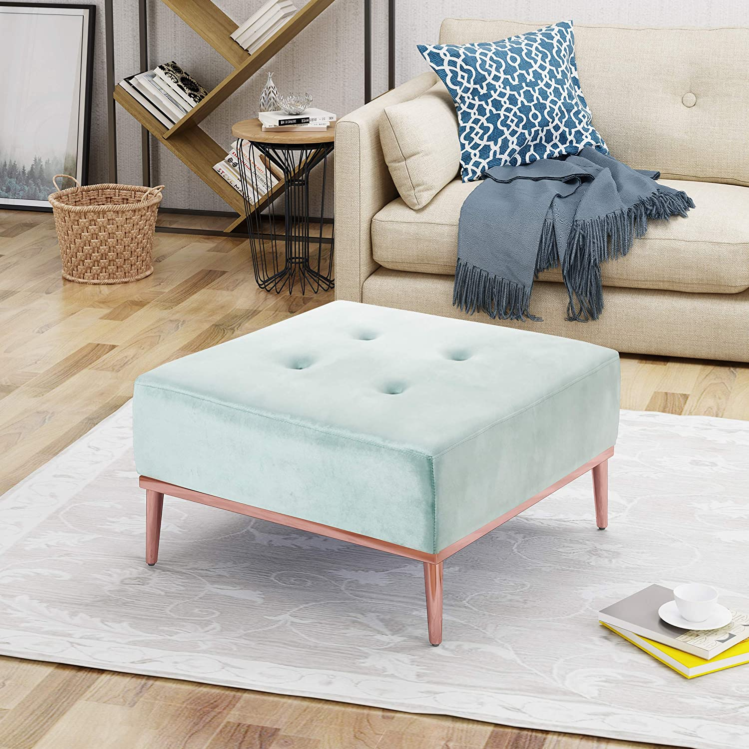 Amazon com great deal furniture arthur button tufted new velvet ottoman in arctic blue rose gold kitchen dining