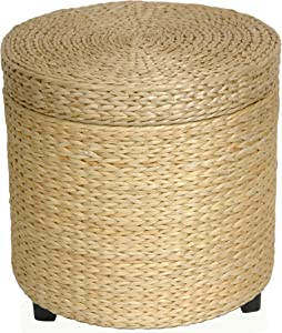 Oriental Furniture Rush Grass Storage Footstool - Natural
