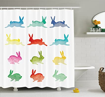 Lunarable Rabbit Shower Curtain By Hand Drawn Watercolor Bunnies On White Background Set Of Rabbits