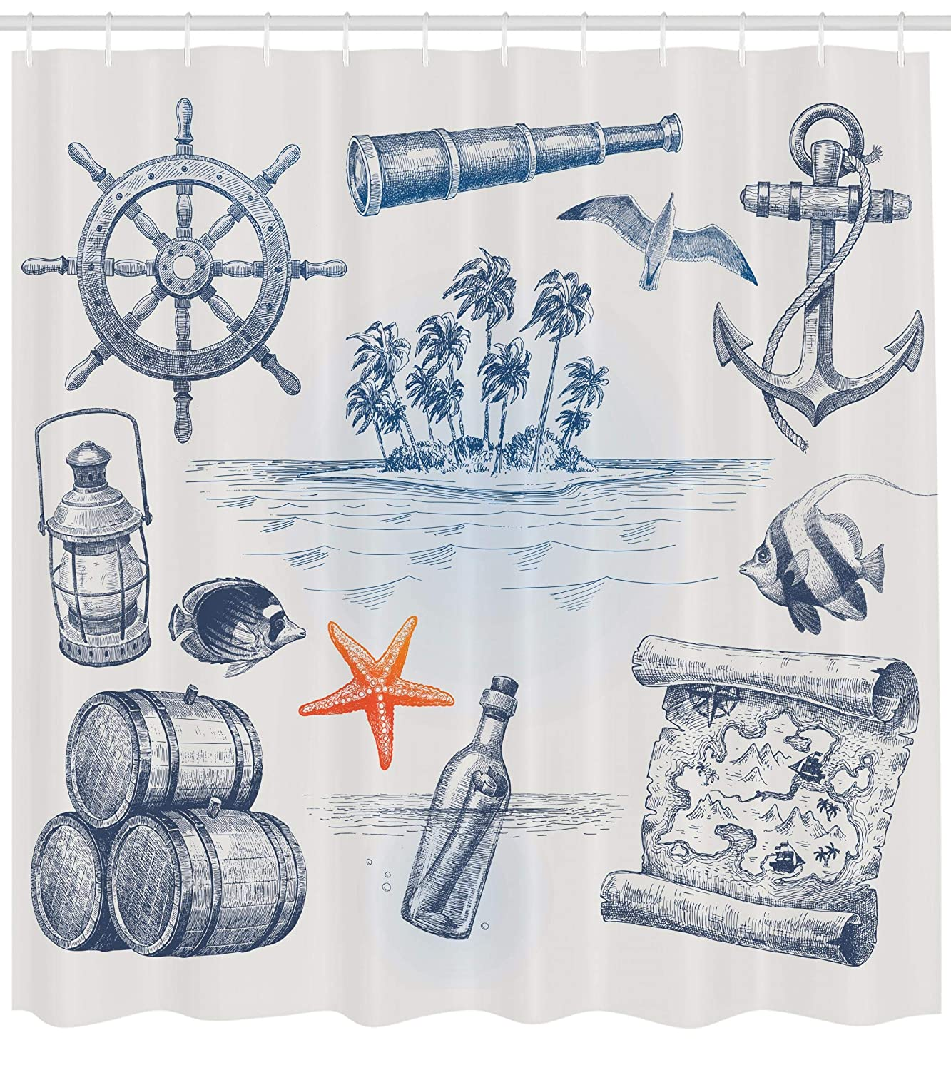 Ambesonne Travel Shower Curtain Anchor Bottle And Map Nautical