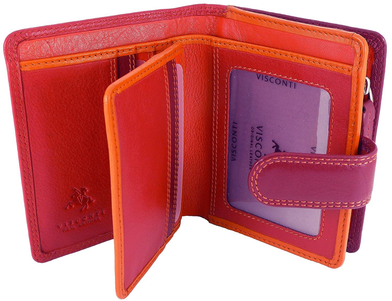Visconti Damen Hochwertiges weiches Leder Multi farbigen Geldbörse in Geschenkbox Mehrfarbig Beerenfarben